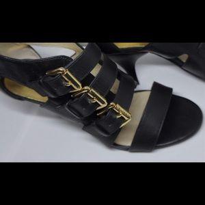 Michael Kors Shoes Sandals Leather black gold 7.5